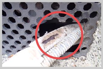 床下換気口と配管の隙間から侵入